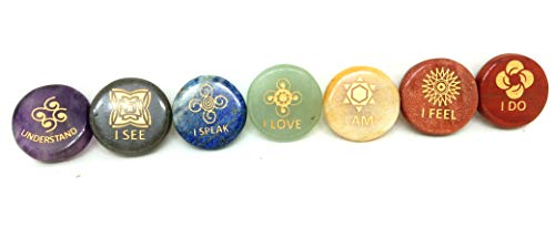 Jet New 7 Chakra Round Power Engraved Gemstone A++ Sets I See Feel Understand Speak Love Do Am Know Yourself Free Booklet Crystal Therapy Image is JUST A - Engraved Stone Word