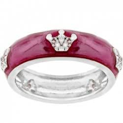 J Goodin R07875R-V15 White Gold Rhodium Fuschia Enamel Pave CZ Crown Eternity Band in Silvertone