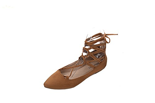 Mila Lady Jessie Fashion New Caviglia Strappy Lace Up Point Toe Scarpe Piatte Cammello