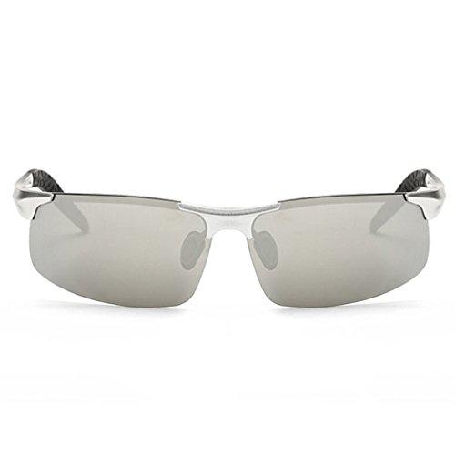 7 Opcionales HT polarizadas Hombres de Colores de Conducción 7 de Medio Espejo de Sol Gafas de Aleación Marco 4 BEI magnesio de los Color qxrqRTgw