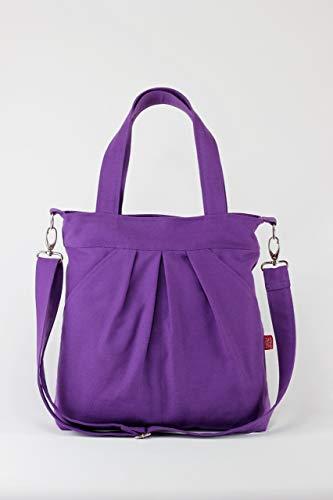 Lilac Pleated Large Washable Two Large Pocket Zipper closed Vibrant Color Canvas Purse Shoulder bag Removable Adjustable Strap Travel Bag pleats ()