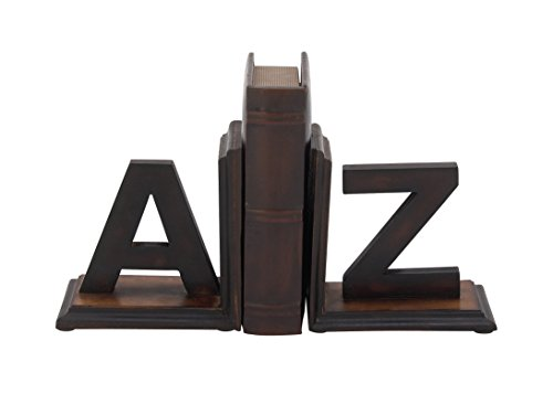 Deco 79 96072 Wood A to Z Bookend Pair