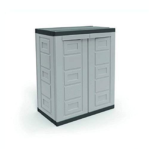 Contico 2 Shelf Plastic Garage Base Utility Cabinet, Gray
