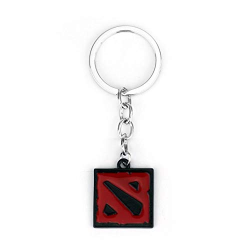 Key Chains - Dota 2 Keychain Online Game Dota2 Classical Logo Square Shape Pendant Keyring 2 Colors Gift Keyring Keychains - by YPT - 1 PCs