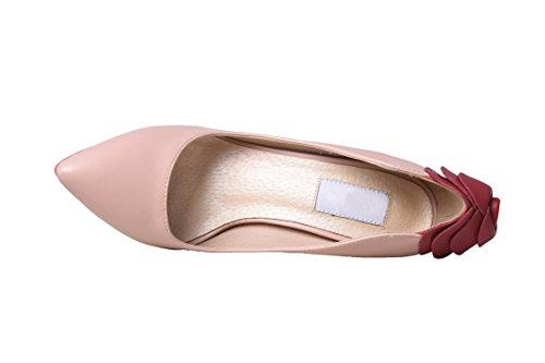 Full Women's Snakeskin 10cm heel Pointed half HooH Toe leather pink Pump Heel Rose Leather Three ZRd566qwU