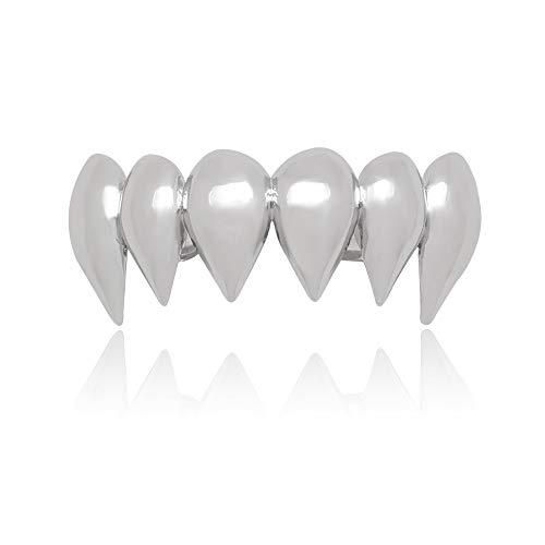 - LuReen 14k Gold Silver Shiny Vampire Fangs Top Grillz 6 Teeth Top Caps Grills (Silver Grillz)