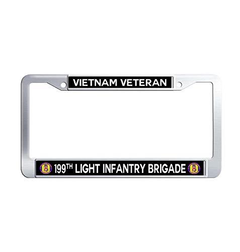 GumiHolders 199th Light Infantry Brigade Vietnam Veteran Car Licence Plate Covers, Metal Stainless Steel Waterproof License Plate Frame(12.25