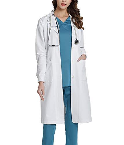 WWOO Women's Professional Lab Coat White Doctor Workwear Scrub Uniforms Medical Work Coat Material Upgrade M -