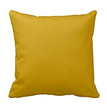 Mustard Yellow Decorative Cotton Square Solid Color Pillowcase Cushion Cover Pillow Cover With Hidden Zipper Closure by Poppy-Love (Mustard Yellow Throw Pillows)