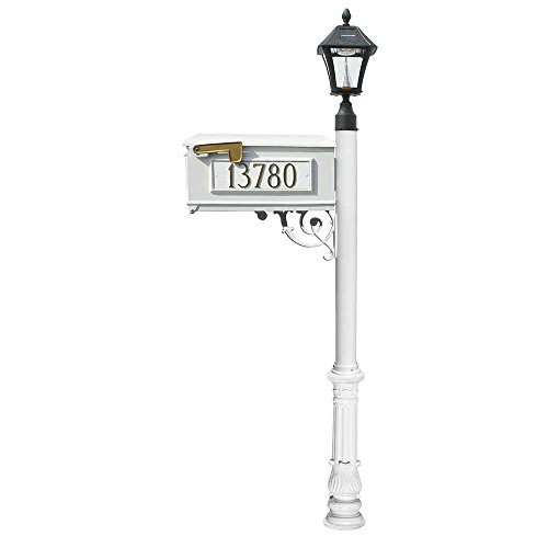 Mailbox w/Post Ornate Base & Solar Lamp, w/3 Address Plates, White (Bayview Solar Lamp)