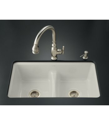 Kohler K-5838-7U-95 Deerfield Smart Divide Undercounter Kitchen Sink with Double Equal Basins and Seven-Hole Faucet Drilling, Ice Grey - Smart Divide Undercounter Kitchen Sink