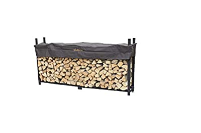 Woodhaven 8 Foot Brown Firewood Log Rack with Cover