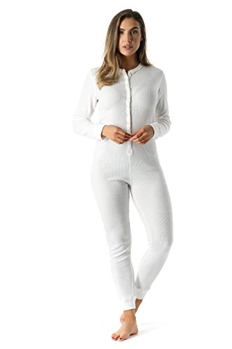 6363-WHT-L #FollowMe Women's Solid Thermal Henley Onesie, White, Large