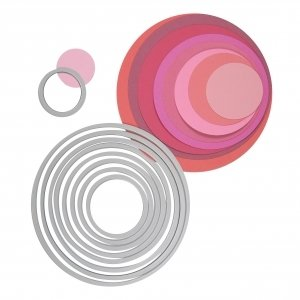 Rayher - 57013000 - Sizzix Framelits Schablonen-Set, Kreise, SB-Blister 8Stück, 2,9x2,9cm, 10,8x10,8cm