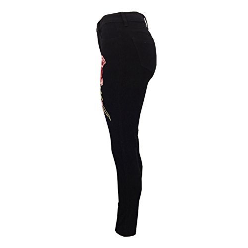 Alta Strappati Denim Pantaloni Donne Ricamo 2 Skinny Jeans Eleganti Stile Sentao Del Vita Matita Fiore Xxqw1P