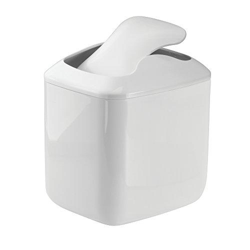 MetroDecor mDesign Wastebasket Trash Can for Bathroom Vanity Countertops, White
