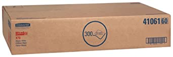 """Kimberly-Clark WypAll 41061 Disposable X70 Wiper, 16.6"""" Width x 29.8"""" Length, White (Box of 300)"""