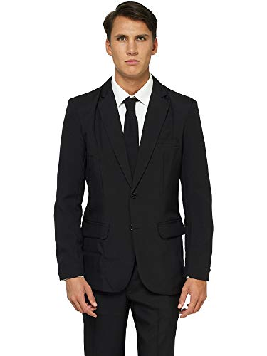 OFFSTREAM Plain Colored Suits for Men- Costumes Include Jacket Pants and Tie, Plain Black, -