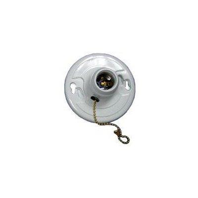 Morris 82117 Fiberglass Receptacle, Pull Chain, Screw Terminals, White