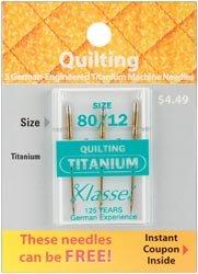 Bulk Buy: Klasse Titanium Quilting Machine Needles 80/12 3/Pkg A5106T (5-Pack) (Klasse Quilting Needles compare prices)