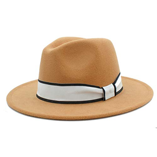 (Wool Felt Wide Brim Fedora Hats for Men Women Unisex Classic Trilby Jazz Cap with Fashion White Ribbon)
