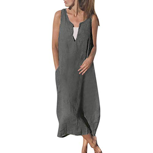 Womens Vintage Linen Dresses,Summer Ladies Beach Women V-Neck Sleeveless Casual Solid with Pocket Long Dress Plus Size Gray (Womens Chaps Vintage)