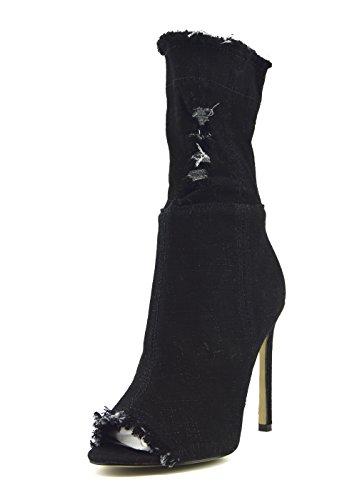 Denim Cuisse Stretch À Escarpins Kick Talon Haut Denim La Sur Black Womens Footwear nf446 de Hautes Bottes xwqZSqFYn