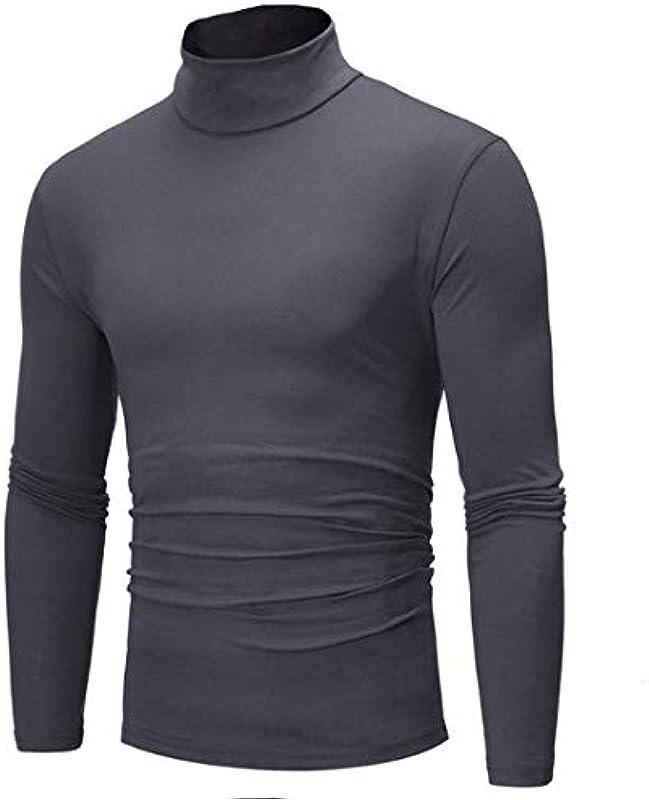 FHIORCK Herbst Winter Męskie Rollkragen Einfarbig Casual Sweater Strickpullover Navy Blue XXXL: Odzież