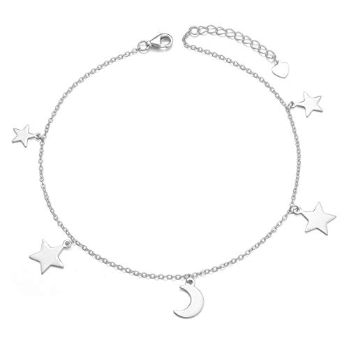 - YinShan Elegant Sexy 925 Sterling Silver Simple Barefoot Chain Anklet for Women Best Gifts Beach Casual Bracelet Jewelry Adjustable Foot Ankle  (Moon and Star)