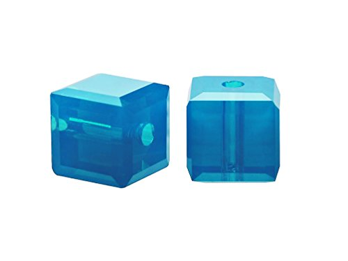 - Wholesale Genuine Swarovski 5601 8mm Caribbean Blue Opal Cube Beads, Choose Package Size (6)