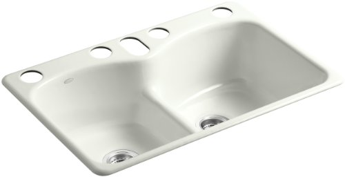 Kohler K-6626-6U-NY Langlade Smart Divide Undercounter Kitchen Sink with Six-Hole Oversized Faucet Drilling, Dune