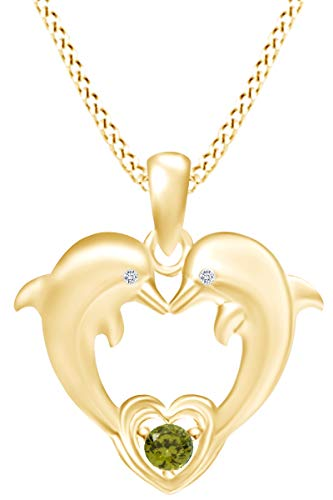 AFFY Round Cut Simulated Peridot & White Cubic Zirconia Two Dolphins Heart Pendant Necklace in 14k Yellow Gold Over Sterling Silver
