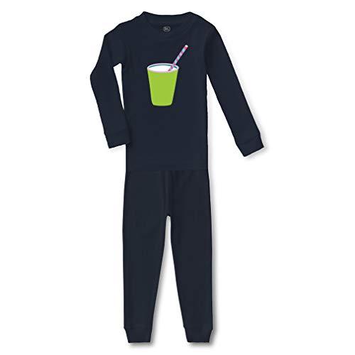 Top Milk Glass Baby (Green Glass Milk Cotton Crewneck Boys-Girls Infant Long Sleeve Sleepwear Pajama 2 Pcs Set Top and Pant - Navy, 3T)