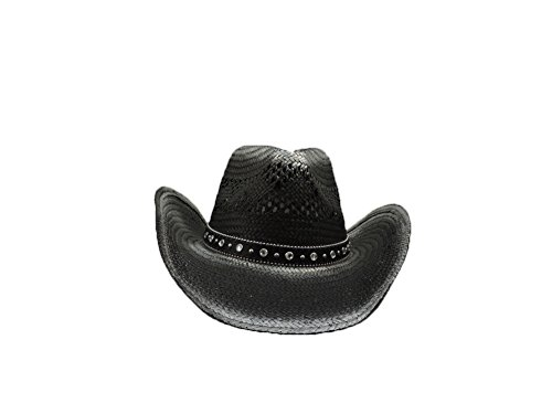 Q Headwear Black & Silver Natural Straw Western Cowboy Hat w/Jewel Band ()