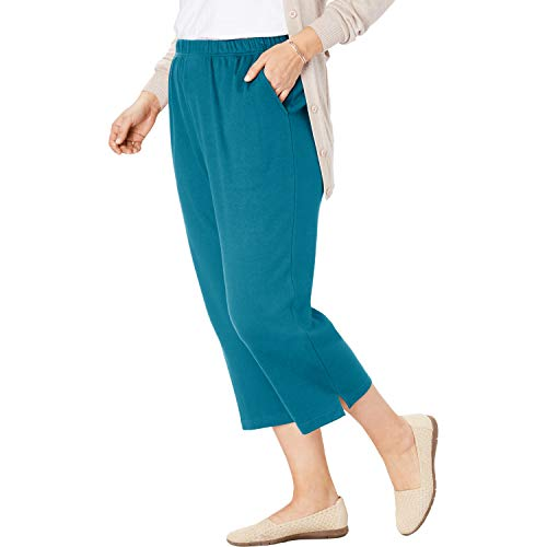Woman Within Women's Plus Size Petite 7-Day Knit Capri - Deep Teal, M