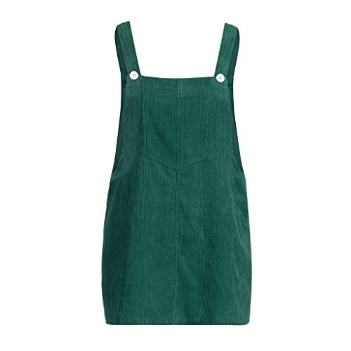 Putars Women Corduroy Straight Suspender Mini Bib Overall Pinafore Pocket Dress