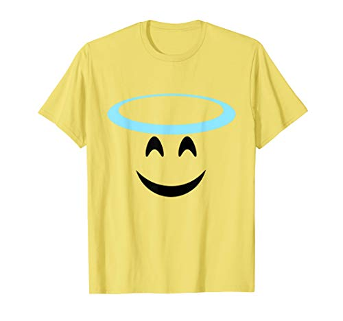 Halloween Emoji Costume Smiling Face Halo Angel Emoticon T-Shirt
