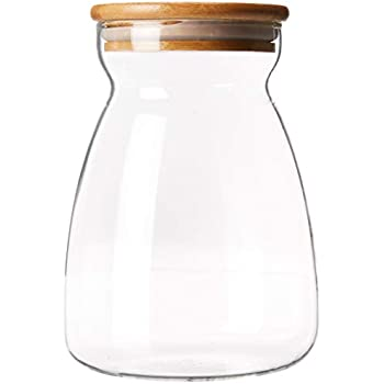 c74632059e51 Storage Jar Made of Glass/Natural Wood. Borosilicate Glass Storage jar with  bamboo Wood lid and Silicone Sealing Ring. Kitchen Glass Food ...