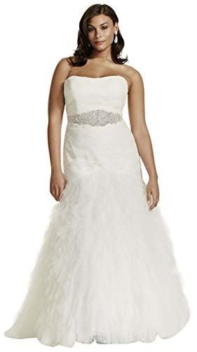 David's Bridal Plus Size Gown with Basket Woven Bodice and Ruffled Skirt Style (Woven Ruffled Gown)