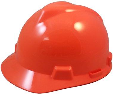 MSA V-Gard Jumbo (Large) Size Cap Style Hard Hats w/FasTrac III Suspensions and Handy Tote Bag - Hi Viz Orange
