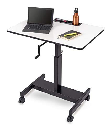 (Single Column Crank Adjustable Stand Up Desk (Charcoal Frame/Whiteboard Top, 36