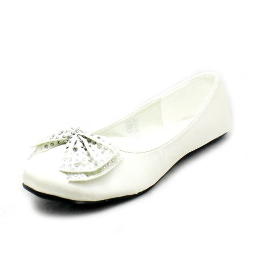 Ivory Silk flat wedding shoes with diamante bow