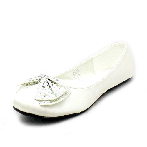 flat bow wedding Silk shoes diamante with Ivory qgZw8Z