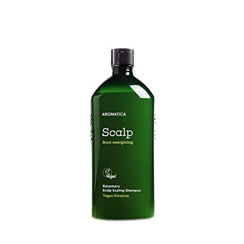 AROMATICA Rosemary Scalp Scaling Shampoo (FLIP CAP VER) 13.53oz / 400ml, Vegan, Certified by Cert Clean, Paraben-Free, Silicone-Free,Rosemary Extract and Biotin, Shampoo for itchy & flaky scalps