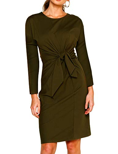 Zaoqee Women's Casual Crew Neck Dress Long Sleeve Tie Knot Front Soft Bodycon T Shirt Dresses Army Green M
