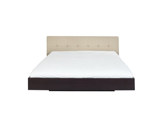 Temahome Float Bed with Upholstered Headboard and Mattress Support, King, Beige Leather and Wenge