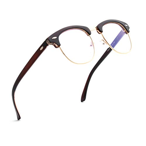 ENSARJOE Blue Light Blocking Glasses Semi Rimless Nerd Eyeglasses Frame Anti Blue Ray Computer Game Eyewear (Best Anti Radiation Glasses)