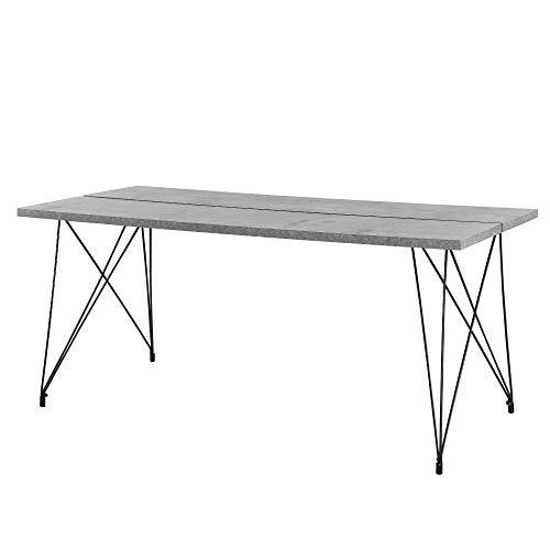 [en.casa]® Mesa de Comedor para 6 Personas 178 x 78 x 77 cm Diseno Acero MDF Efecto hormigon