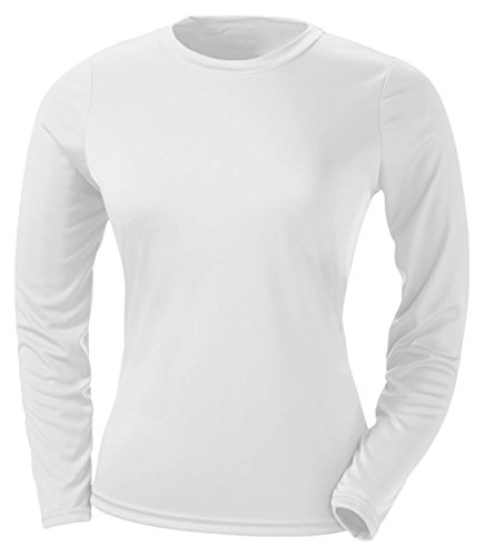 A4 Women's Cooling Performance Crew Long Sleeve Tee, White, X-Large