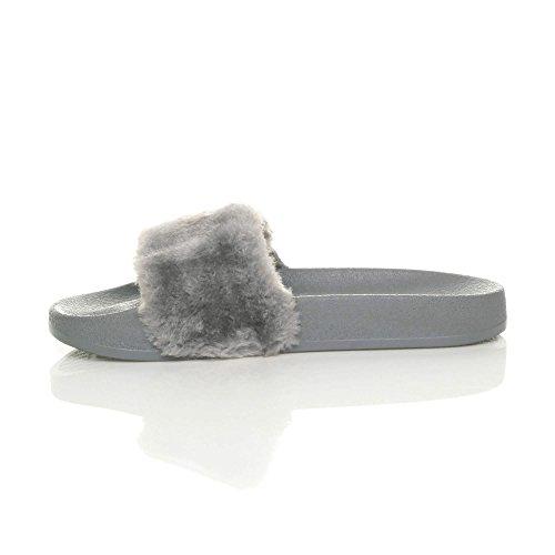sandali piatto numero Grigio infradito pantofole Donna pelliccia comodo slides ciabatta pxwUf